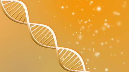 Orange background animation of looping animated dna molecule