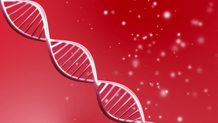 Red background animation of looping animated dna molecule