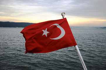 Turkish Flag and Bosphorus