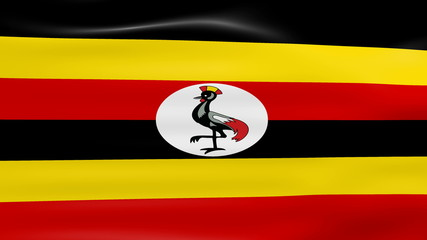 Waving Uganda Flag, ready for seamless loop.