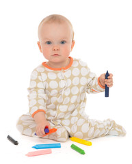Infant child baby toddler sitting drawing painting with color pe