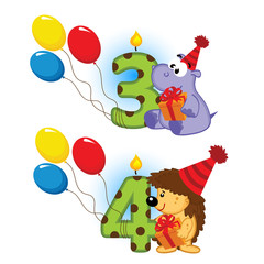 third fourth birthday with animal - vector  illustration, eps