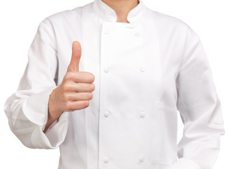 photograph of a chef making hand sign OK