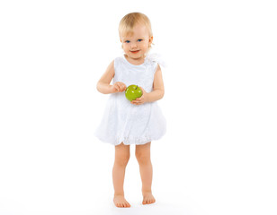 Happy baby and apple on a white background