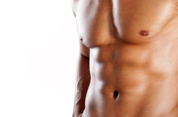 Torso of muscular man on white background