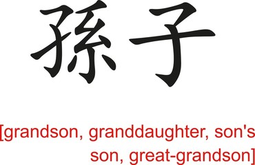 Chinese Sign for grandson, granddaughter, son's son