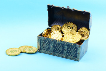 Treasure box with gold coins