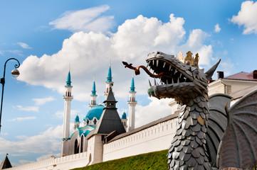 The Kul Sharif Mosque and Statue of dragon, Tatarstan, Russia