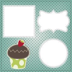 Retro cupcake layout, with vintage lace frames