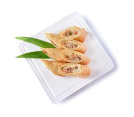 Spring rolls food on dish