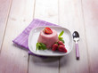 strawberry mousse with mint leaf