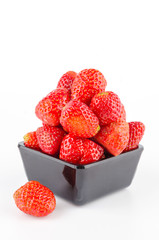 Strawberry bowl isolated white background