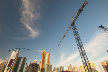 Toronto city construction site with cranes