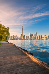 Toronto skyline over ontario lake
