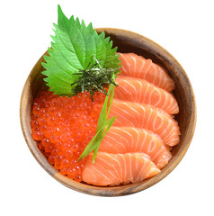 Salmon and Ikura in wood bowl