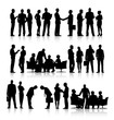 Rows Of Silhouettes Of Business People Working - 67223159