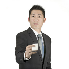 asia business man hold a card