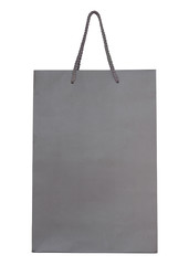 Gray paper bag isolated on white with clipping path