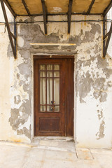 shabby old door in a medieval house