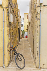 narrow street in the medieval town of European Mediterranean