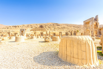 Ruins of Persepolis in Fars Province, north Shiraz, Iran.