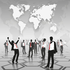 Silhouette of Global Business Meeting : white map