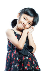 asian girl portrait on white background