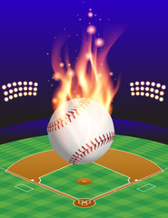 Baseball, Field, and Flame Illustration