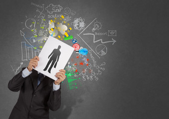 businessman hand with book choosing people icon as human resourc