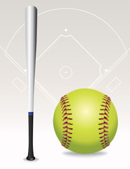 Softball Field, Ball, Bat Illustration