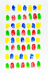 colorful of fingerprints on white background