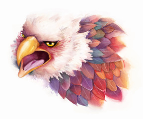 Vector watercolor Eagle in fantasy style