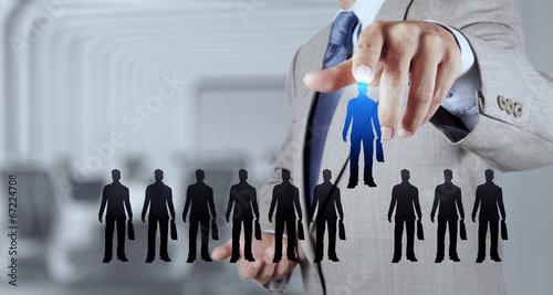 businessman hand choosing people icon  as human resources concep - 67224708