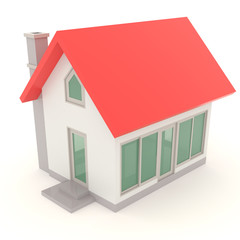 Red toy house in 3D design