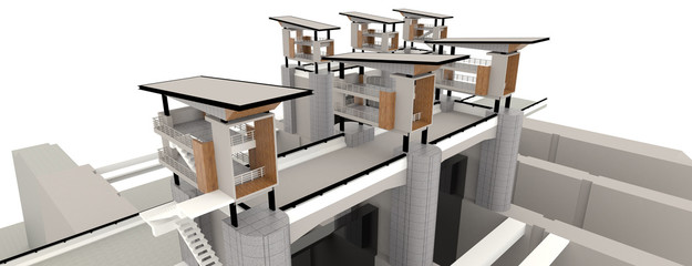 Top view of surveillance tower in 3D exterior design