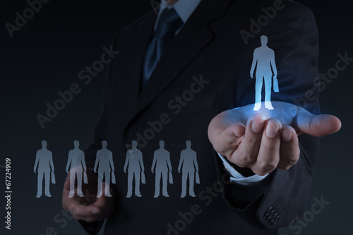 businessman hand choosing people icon as human resources concept - 67224909
