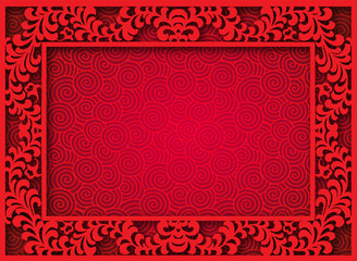 raster of Oriental Chinese seamless pattern background with fram