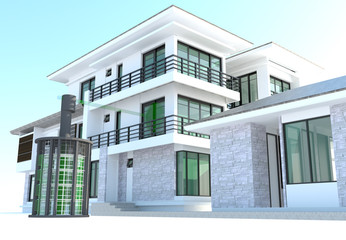 Future residential house with huge outer battery energy source i