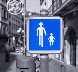 panneau indication zone piétonne à Chambéry