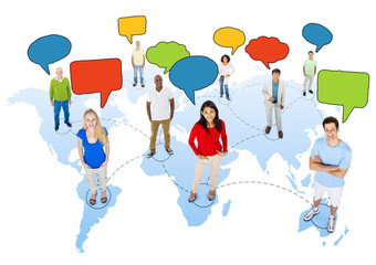 People Connected on Cartography with Speech Bubbles