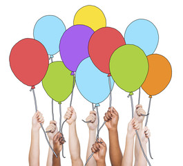 Multi-Ethnic Group of Hands Holding Balloons