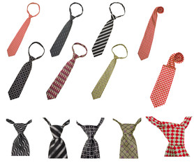 set of male business ties isolated on white background