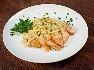 fettuccini pasta with salmon