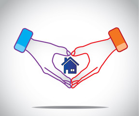 man woman couple hold hands like heart with house home in middle