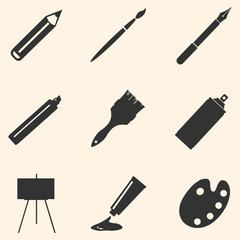 Vector Set of Black Art,  Painting and Drawing Icons