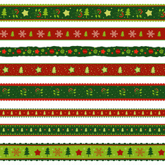 Christmas ribbon decoration patterns set