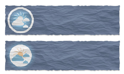 set of two banners with crumpled paper and sun and clouds