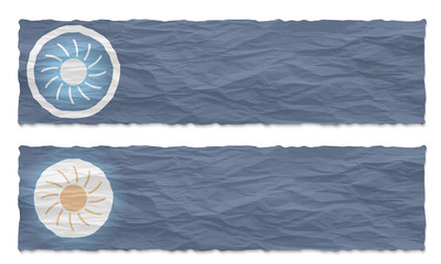 set of two banners with crumpled paper and sun