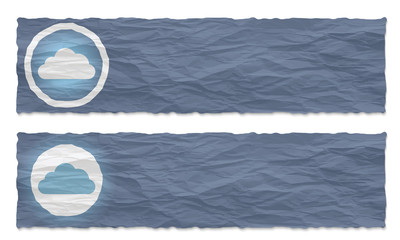 set of two banners with crumpled paper and cloud