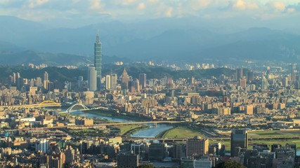 Time lapse of Skyline of Xinyi District in Taipei
